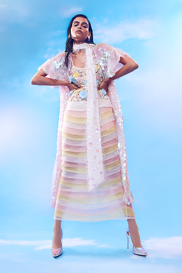 Whisper White Tank Top, 3-toned Pleated Long Sheer Skirt paired with Holographic Long Jacket and White Feather Belt Set