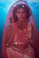Coral and Brick Pink Bustier with Pleated Multi-tiered Skirt and Net Dupatta