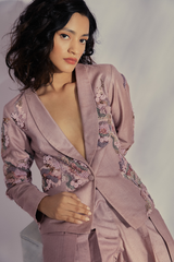 Moonga Silk Dust Pink Pant Suit