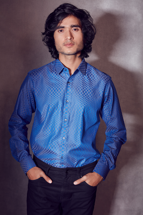 Contrasted Cobalt Blue and Textured Shirt