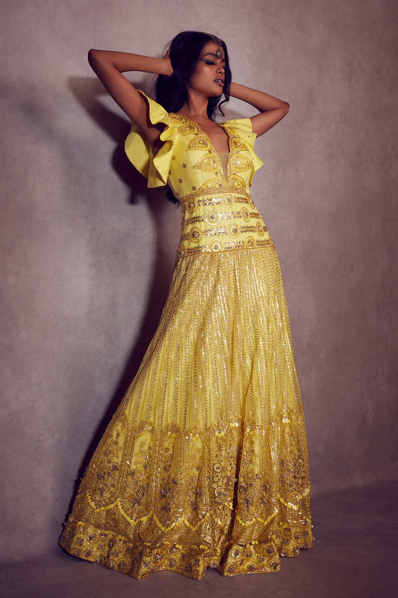 Lemon Yellow Ruffled-sleeves straight Gown