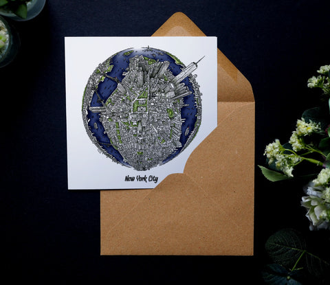 City Globe Greeting Cards