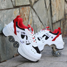 Load image into Gallery viewer, 2021 Roller skates 4 wheels adults unisex casual shoes children skates Deformation Parkour Sneaker Four Wheels Rounds Of Running