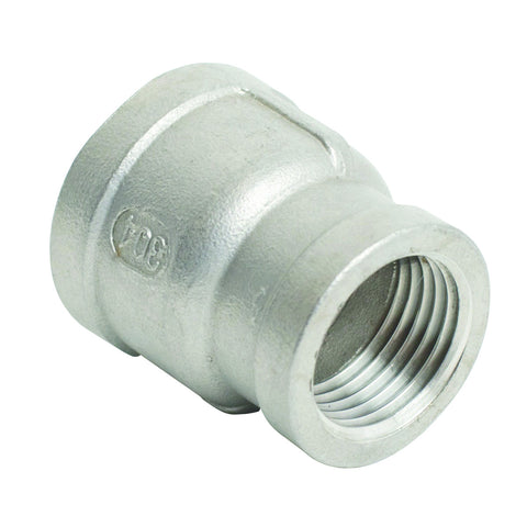 "Stainless Steel Coupler 3/8"" FPT to 1/2"" FPT"