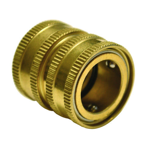 "Brass Garden Hose Fitting 3/4"" Fem x Fem Quick Disconnect"