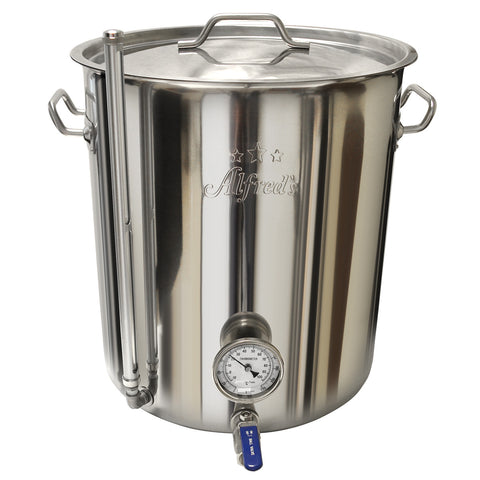 25 Gal. Alfred's Heavy Duty SS Kettle W/Valve, Thermometer & Sight Gauge