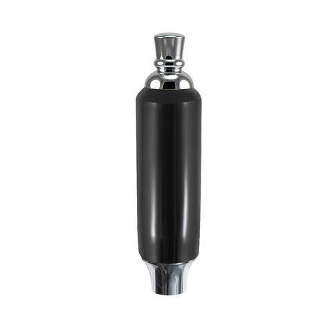 "Black Plastic Tap Handle 5"" W / Chrome Plated Ferrule"