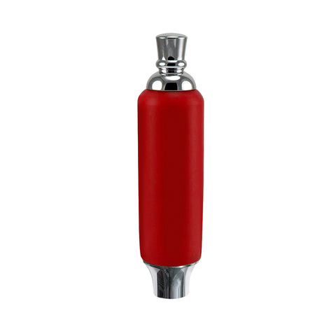 "Red Plastic Tap Handle 5"" W / Chrome Plated Ferrule"