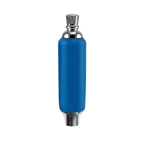 "Blue Plastic Tap Handle 5"" W / Chrome Plated Ferrule"