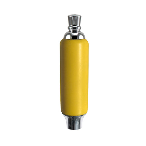 "Yellow Plastic Tap Handle 5"" W / Chrome Plated Ferrule"