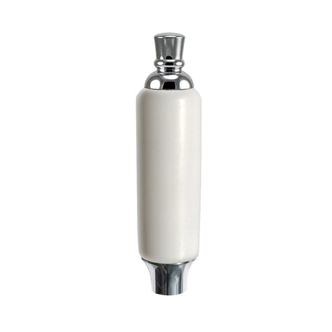 "White Plastic Tap Handle 5"" W / Chrome Plated Ferrule"