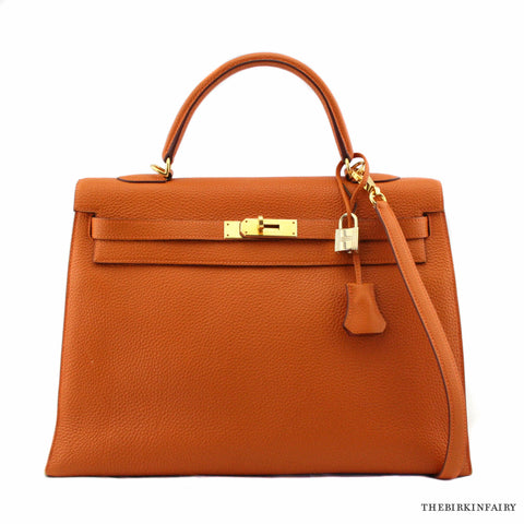 Hermes Orange Potiron Sellier Togo Kelly Bag 35cm w/ Gold Hardware