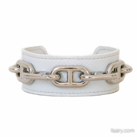 Hermes White Epsom Chaine d'Ancre Leather Cuff
