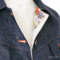 Hermes Linen Denim Jacket Size 34 - *Cirque Mollier* Scarf Lined