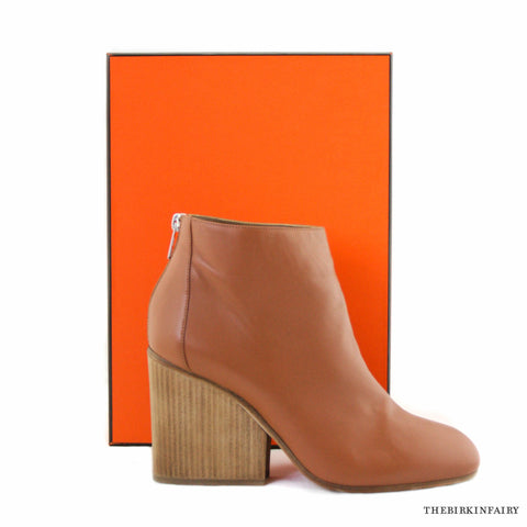 Hermes Tan Ankle Boot with Wooden High Heel Wedge Size 41