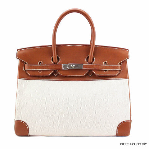 Hermes 35cm in Natural Barenia Leather/Toile Birkin