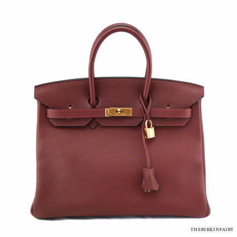 Hermes Rouge H Red Fjord Birkin 35cm w/ Gold Hardware