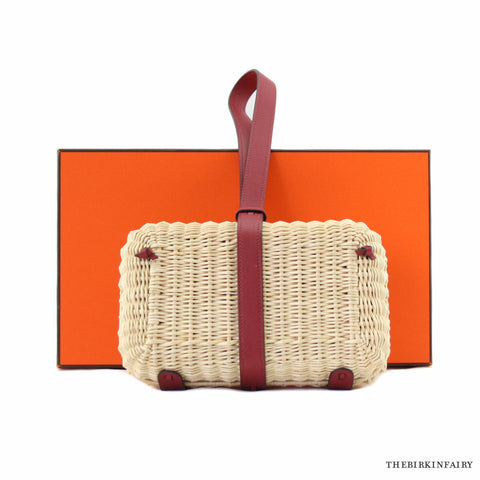 Hermes Rouge H Basket Woven Picnic Clutch
