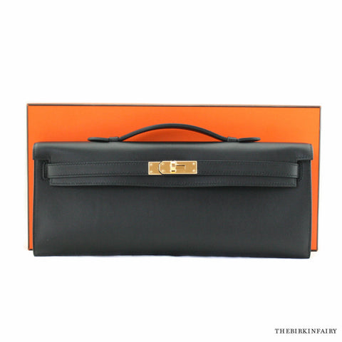 Hermes Kelly Cut Clutch Black w/ Gold Hardware NEW!