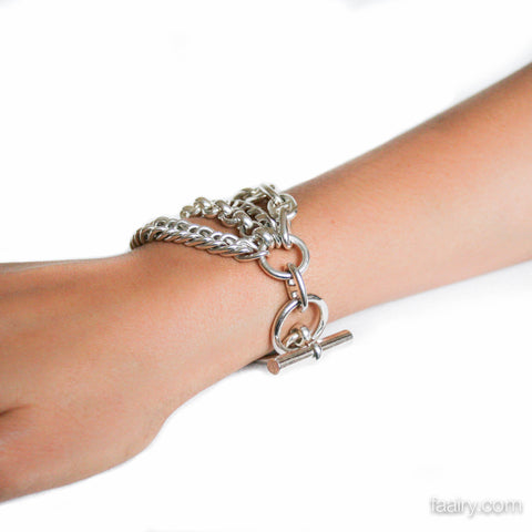 "Hermes ""Etcetera"" 4 Chain Link Sterling Silver Toggle Bracelet - Beautiful!"