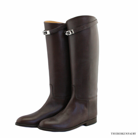 Hermes Mocha Brown Jumping Boot Size 38 1/2 NEW!