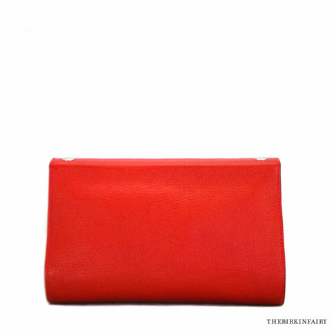 Hermes Chevre Mysore Red Karo GM Snap Pouch