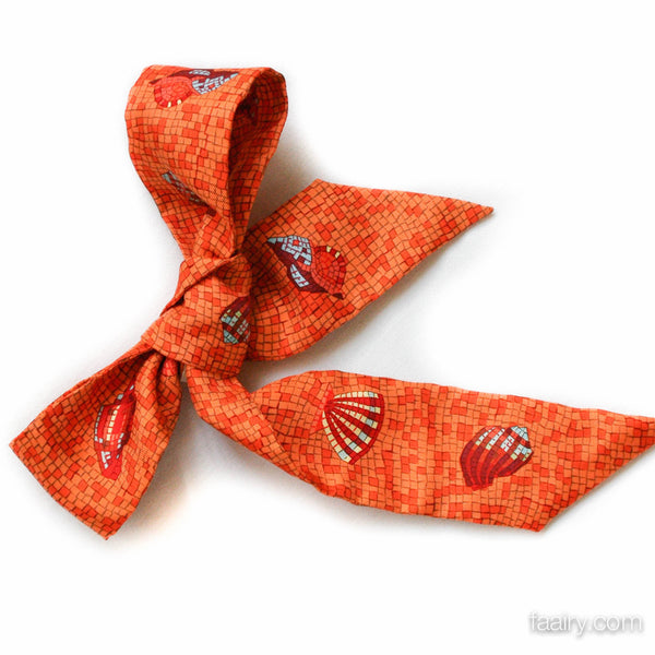 Hermes Twilly with Orange Mosaic Seashells