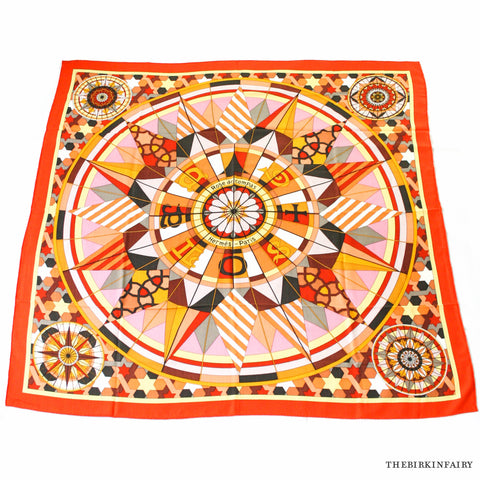 Hermes Rose de Compass Cashmere/Silk Shawl in Orange Capucine Color 02 NEW!
