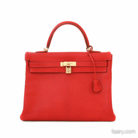 Hermes 32cm Kelly Bag Retourne in Rouge Vif Chevre