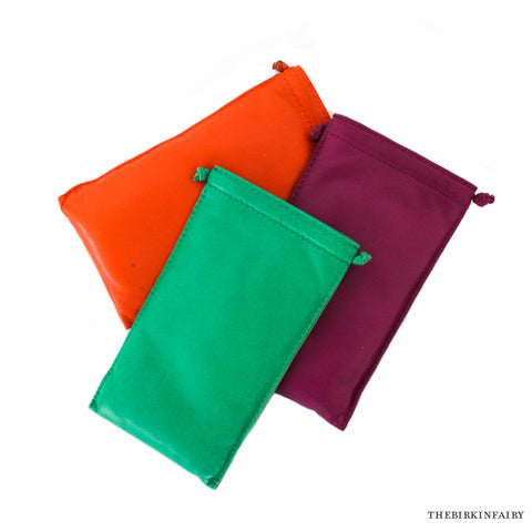 Hermes Set of 3 Pilo Pouches in Agneau Leather (Menthe, Anemone, Orange)