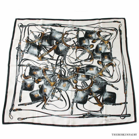 Hermes Brides Rebelle Silk 90cm Scarf in Black and White