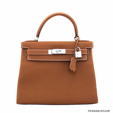 Hermes 28cm Gold Retourne Kelly Bag w/ Palladium - NEW!
