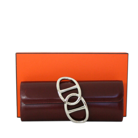 Hermes Egee Clutch in Rouge H Box Calf - Palladium Hardware