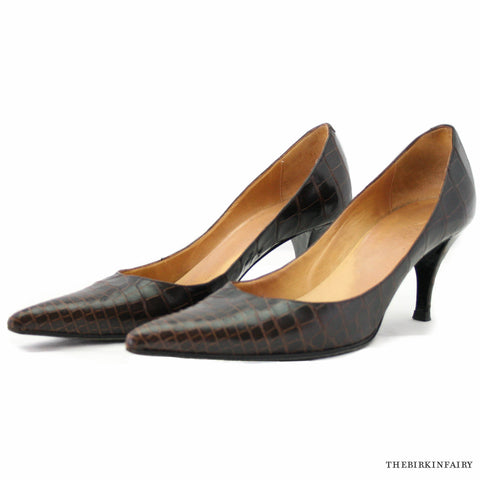 "Hermes ""Faubourg"" Moka Alligator High Heels Size 38"