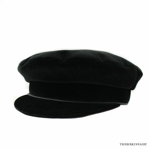 Hermes Cotton Velvet Black Hat Size 56