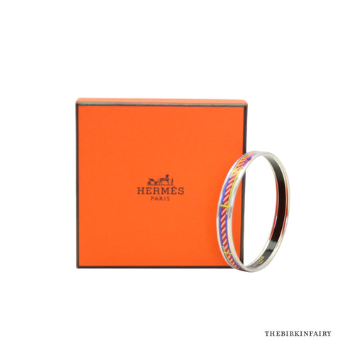 Hermes Quadridge Enamel Bangle - Size 65mm Palladium