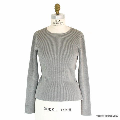 Hermes Knitted Gray Long Sleeve Sweater with Clou de Selle Buttons Size Small