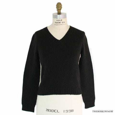Hermes Long Sleeve Dark Brown V Neck Cashmere Sweater Size Small