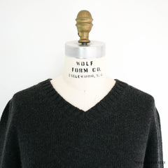 Hermes Gray V Neck Long Sleeve Cashmere Sweater Size Small