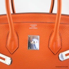 Hermes Orange Togo 35cm Birkin w/ Palladium Hardware