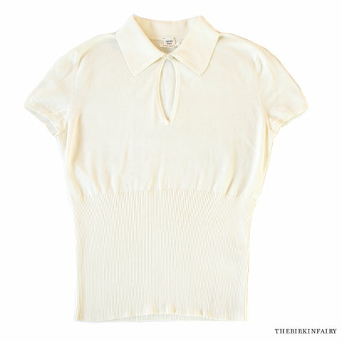 Hermes Womens Ivory Cotton Collared V-Neck Short Sleeve Knit Top Size 40