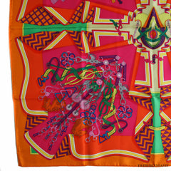 Hermes Bouquets Sellier Orange/Fuchsia Silk 90cm Scarf NEW!