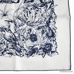 Hermes Tatonage Jungle Love Blanc/Bleu (jacquard) Scarf 90cm NEW!