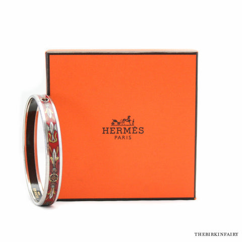 Hermes Red Feather Enamel Bracelet Size 65 Palladium Hardware