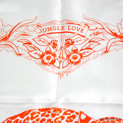 Hermes Tatonage Jungle Love Blanc/Orange (jacquard) Scarf 90cm NEW!