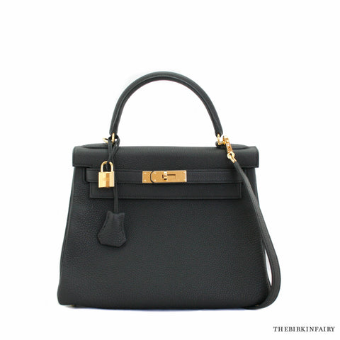 Hermes 28cm Black Retourne Togo Kelly Bag w/ Gold NIB