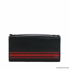 Hermes Vintage Black and Red Box Calf Djerba Clutch Bag