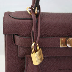 Hermes 28cm Bordeaux Retourne Togo Kelly Bag w/ Gold Hardware NIB