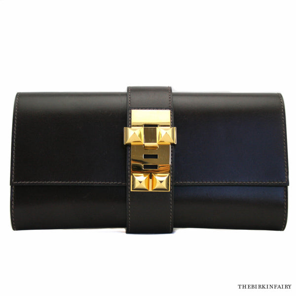 Hermes Dark Brown Box Calf Medor Clutch with Gold Hardware