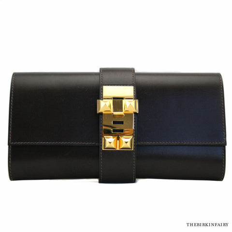 Hermes Box Calf Medor Clutch with Gold Hardware